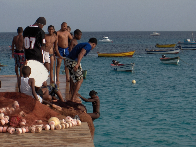 All jumping from the pier, Santa Maria Cape Verde