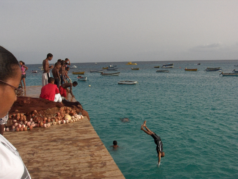 Kids jumping from the pier, Cape Verde