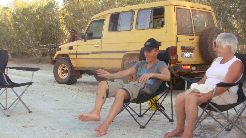 Chilling after some mud crabbing, Cape Leveque Australia