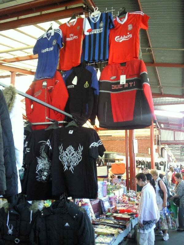 Football shirts @ market, Melbourne Australia