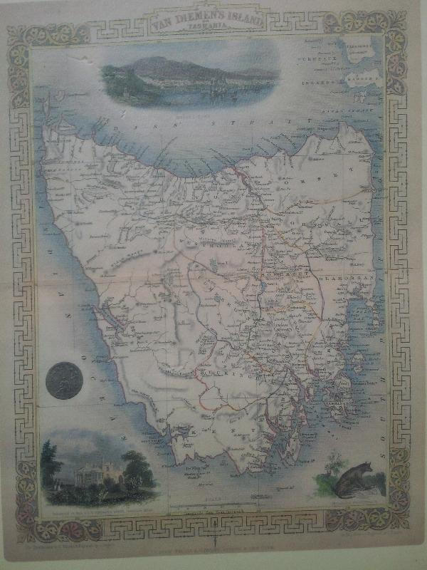 Old Tasmanian map in Hobart, Australia