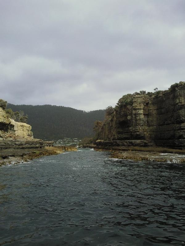 Rafting through the cliffs, Tasmania, Port Arthur Australia