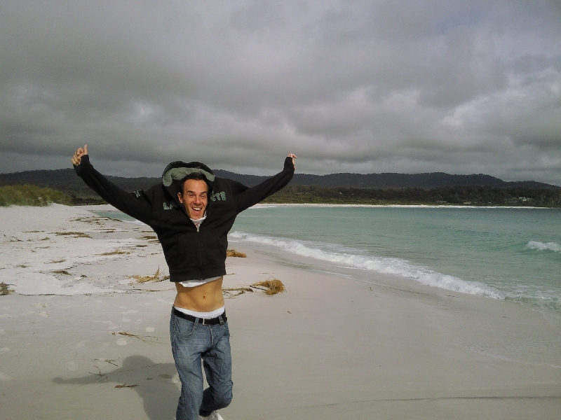 Having fun at Binnalong Beach, Bay of Fires Australia