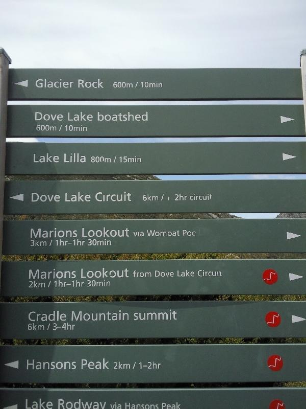 Information signs around Dove Lake, Australia