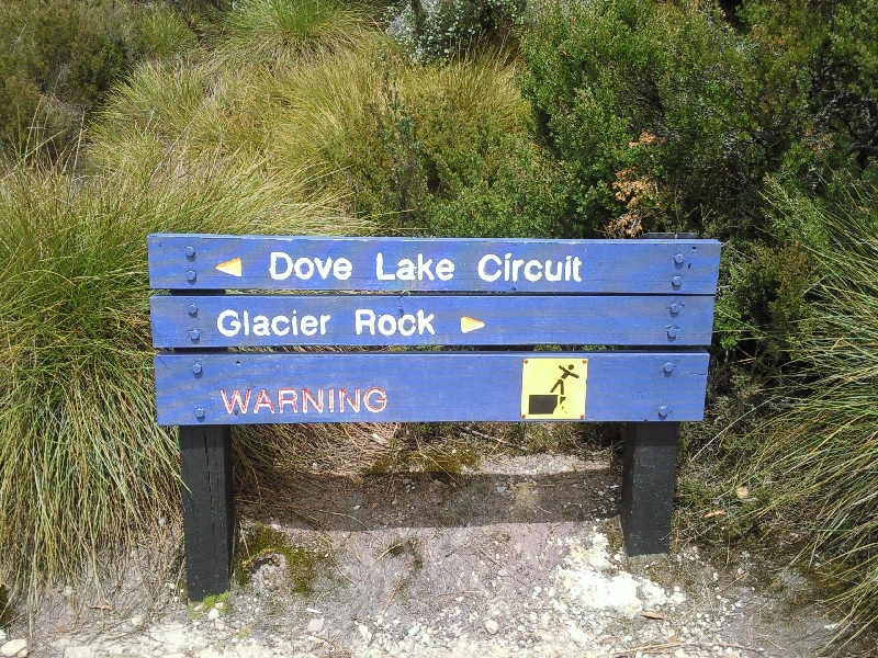 Information signs at Dove Lake, Australia