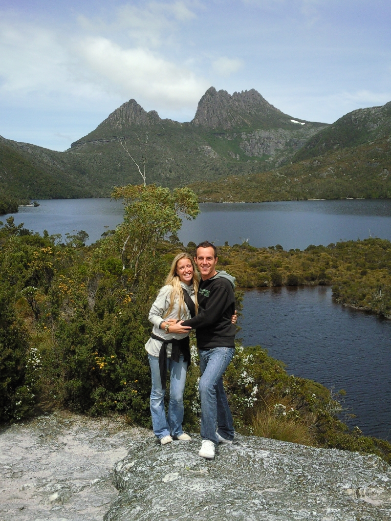 On the rock in front of Cradle Mountain, Australia