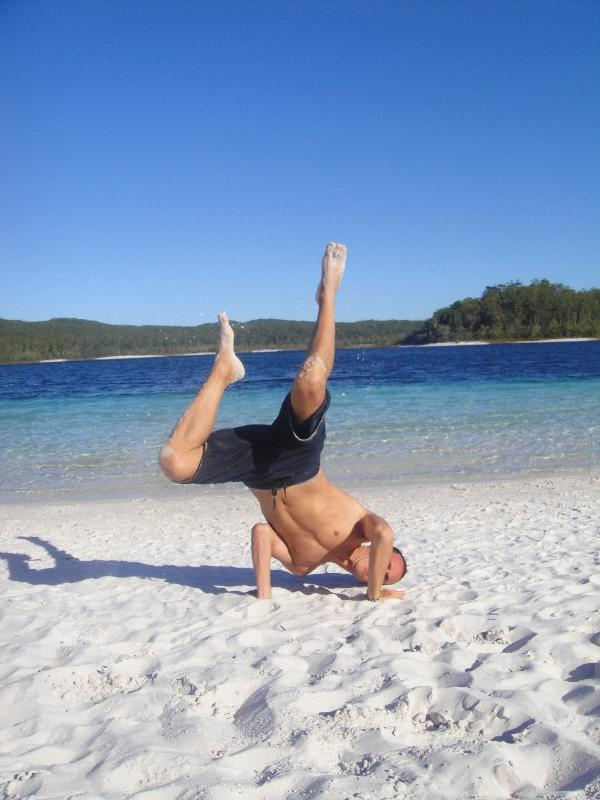 Having fun at Lake McKenzie, Australia