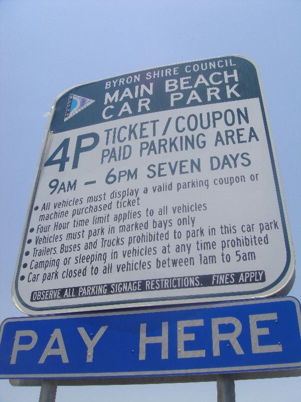 Parking sign Byron Bay, Byron Bay Australia