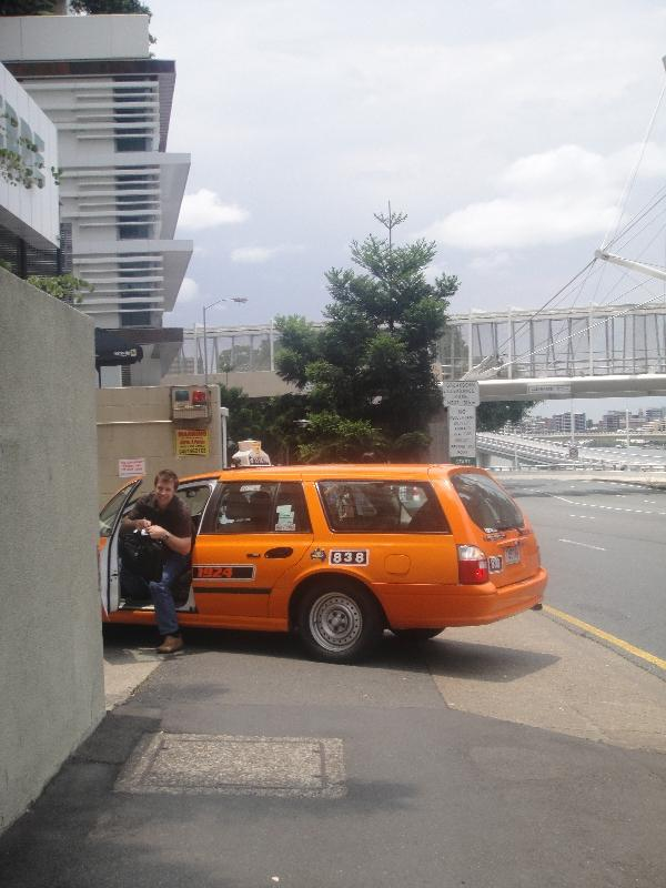 Brissy yellow cabs on Quay, Brisbane Australia