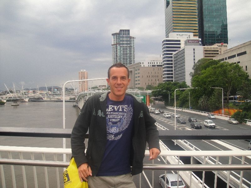 Crossing the bridge in Brisbane, Australia