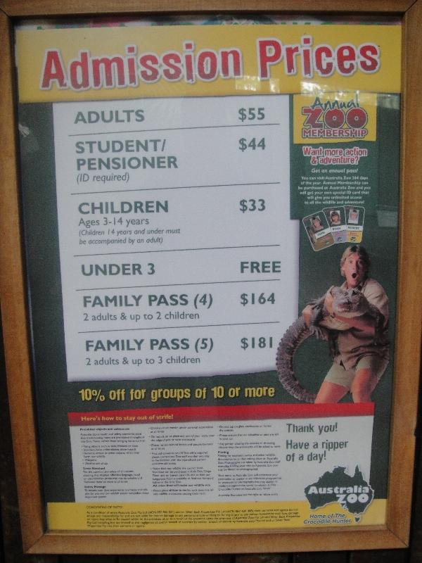 Look at those entrance fees...., Australia