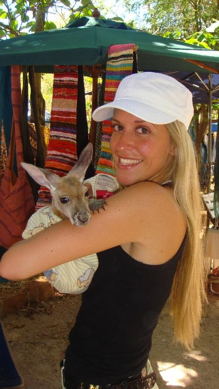 Holding a joey kangaroo!, Broome Australia