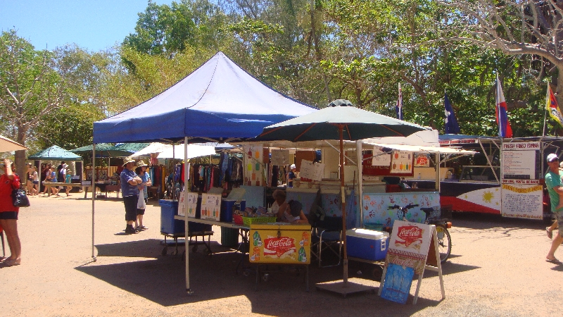 Stands at the market in Broome, Australia
