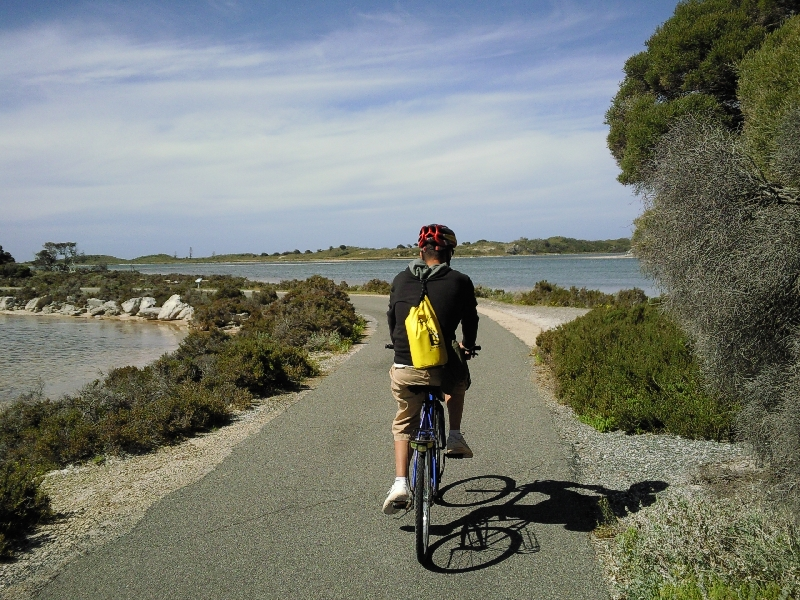 On our hired bikes around Rottnest, Australia