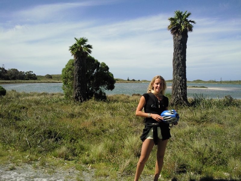 Taking a bike break at the lake, Rottnest Island Australia