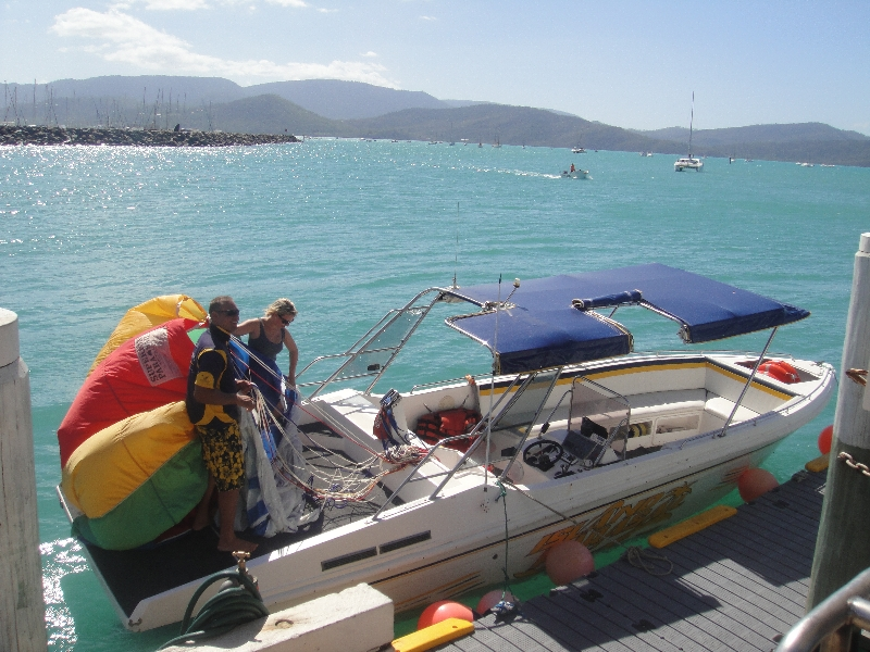 Speedboat for the parasailing trip., Australia