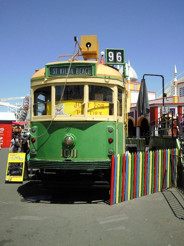 Wooden train at Luna Park in Melbourne, Australia