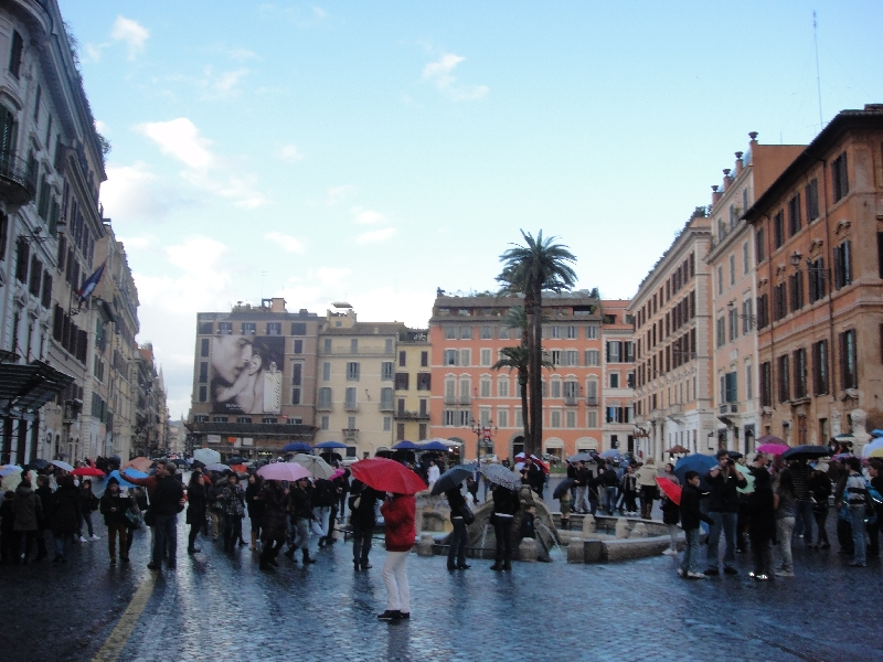 Umbrella crowd on Piazza di Spagna, Rome Italy