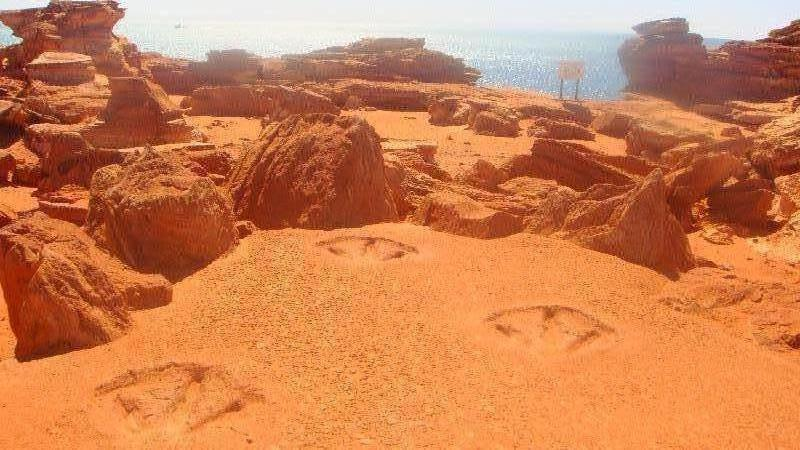 Tyrosaurus Rex Footprints in Broome, Australia