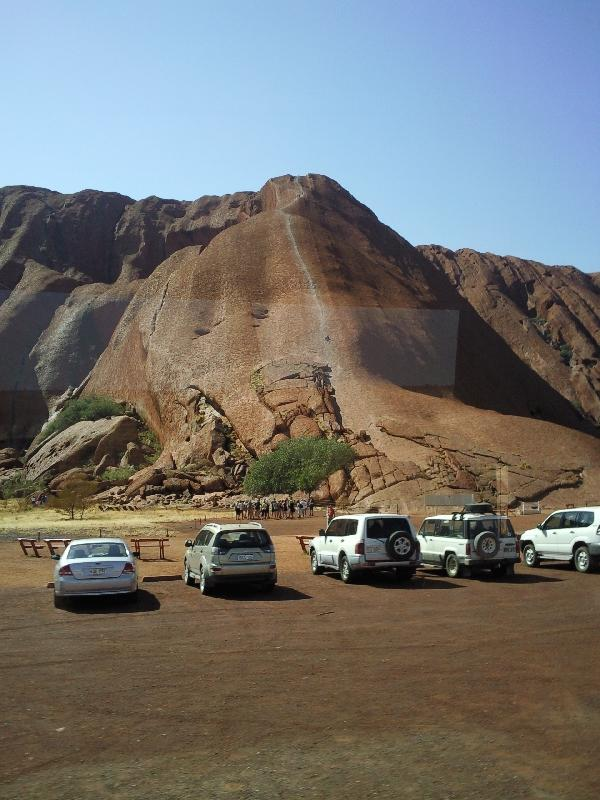 Parking at the bottom of Uluru, Ayers Rock Australia