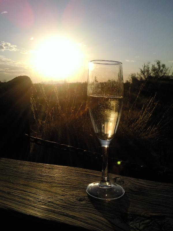 Champagne in the outback at Ayers Rock, Australia
