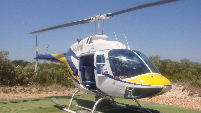 Helicopter flight over Pearl Farm, Broome Australia