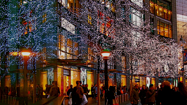 City Sidewalks. Christmas, United States