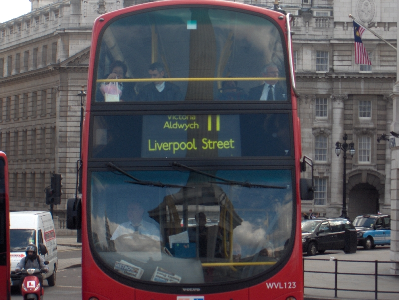 The big red bus to Liverpool St, United Kingdom