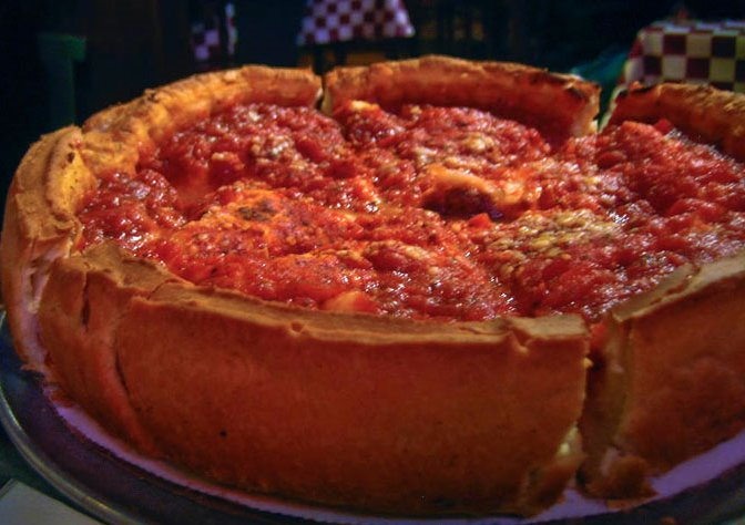 An Chicago Style Deep Dish Pizza, Chicago United States