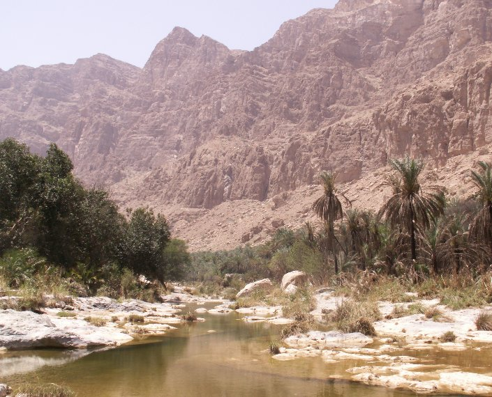 The ponds and mountain view at Wadi Tiwi, Oman