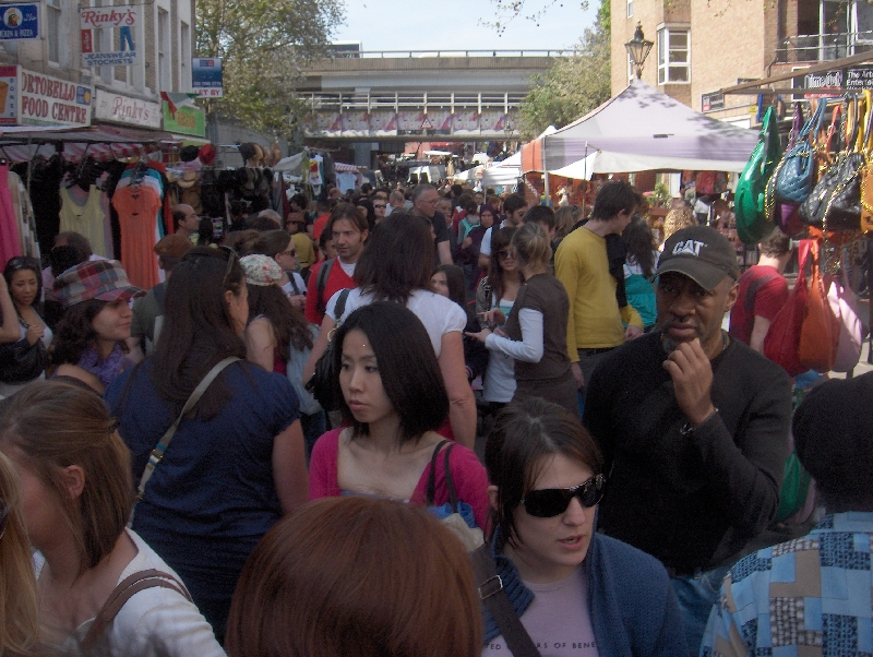 The crowded Portobello Markets, United Kingdom