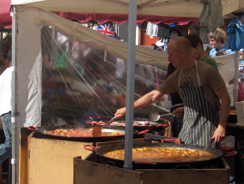 Portobello Food Market Stands, London United Kingdom