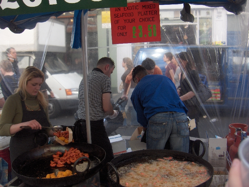 Food stalls on Portobello Market, London United Kingdom