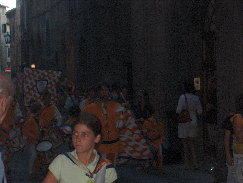 People celebrating palio victory, Italy