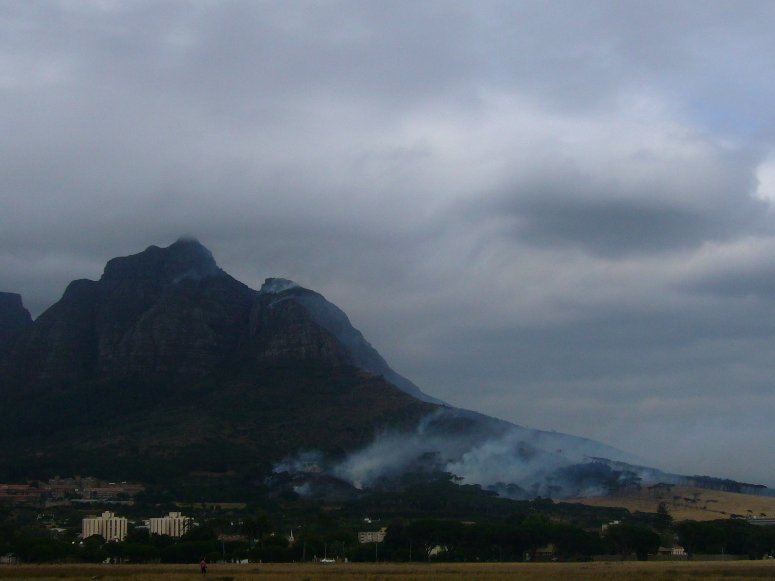 Bush Fires at Tafelberg Mountain, Cape Town South Africa