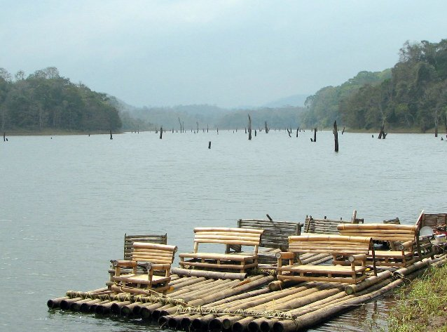 Kerala India Boat ramp at Periyar National Park.