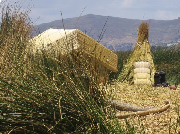 Puno Peru Bamboo made houses in Peru