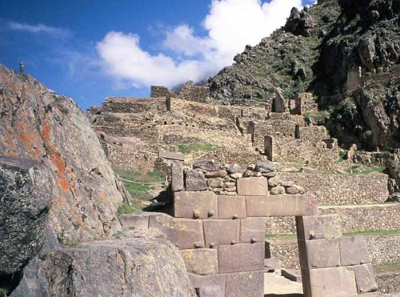 The stairs up the Ollantaytambo Ruins, Peru