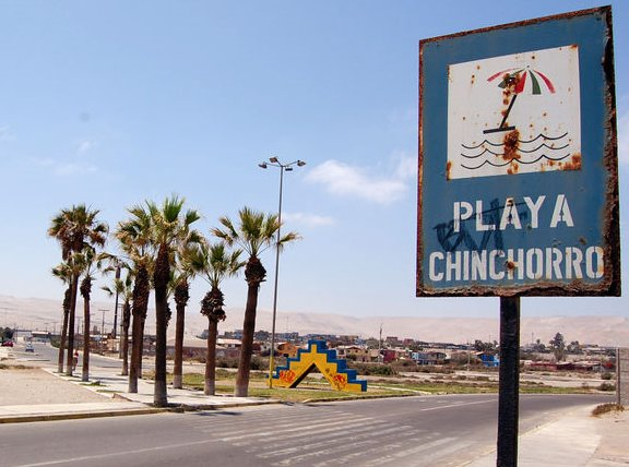 Sign at Chinchorro beach, Arica, Chile