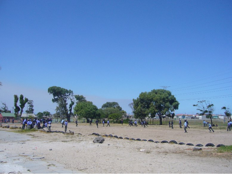 Kids playing soccer in Cape Town, South Africa