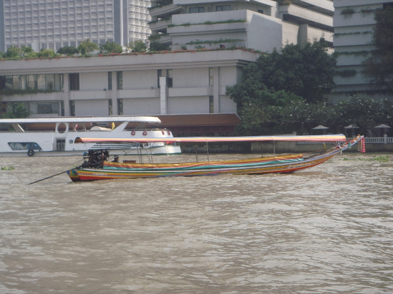 Longtail boat waiting for clients, Bangkok Thailand
