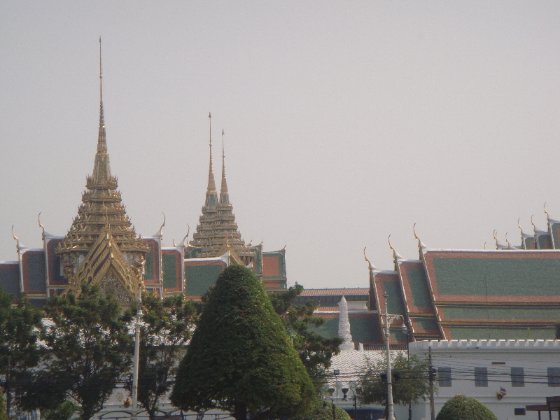 Temples of the Grand Palace off shore, Bangkok Thailand