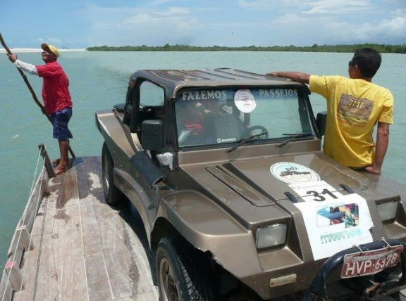 Pictures on the car ferry in 	Jericoacoara , Brazil