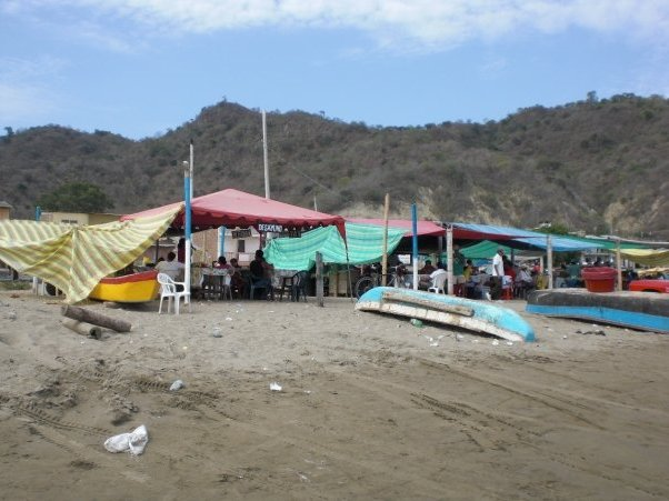 Fishing Town on the beach in Puerto Lopez, Ecuador