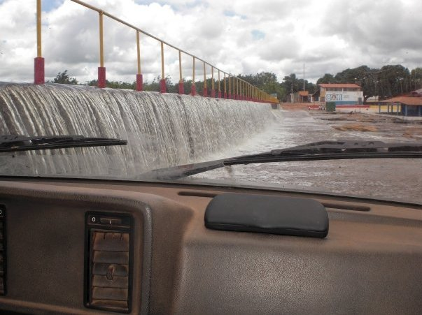 Driving through the flooded roads, Ubajara Brazil