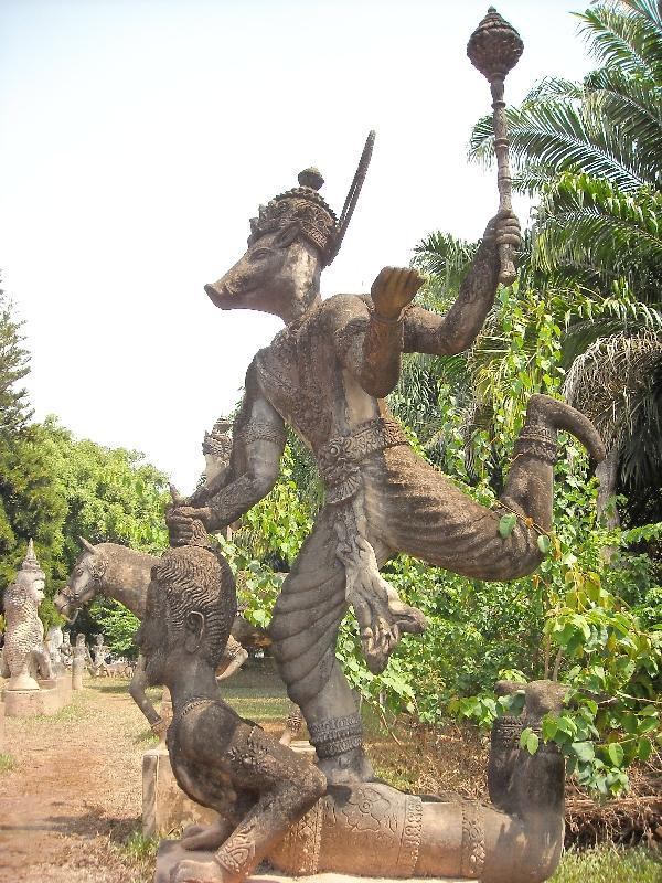 Dancing Hindu statues in Vientiane, Laos