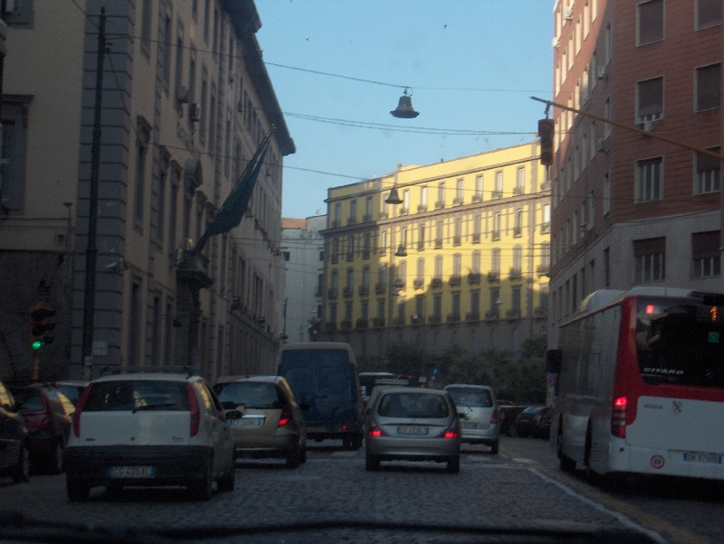 Driving through Naples to Plebiscito, Italy