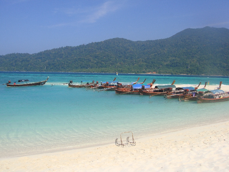 The longtail boat taxi's on Ko Lipe, Thailand