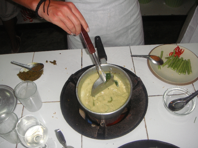 Cooking some green curry in Lanta, Thailand