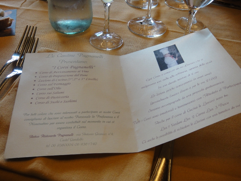Menu for italian cooking courses, Castel Gandolfo Italy